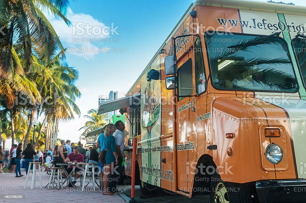 Food trucks at Miami Beach stock photo