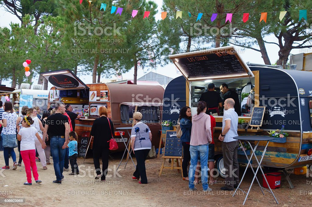 Food trucks in a local festival stock photo