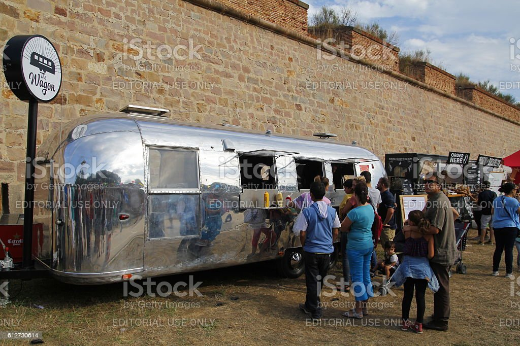 Food trucks in Barcelona stock photo