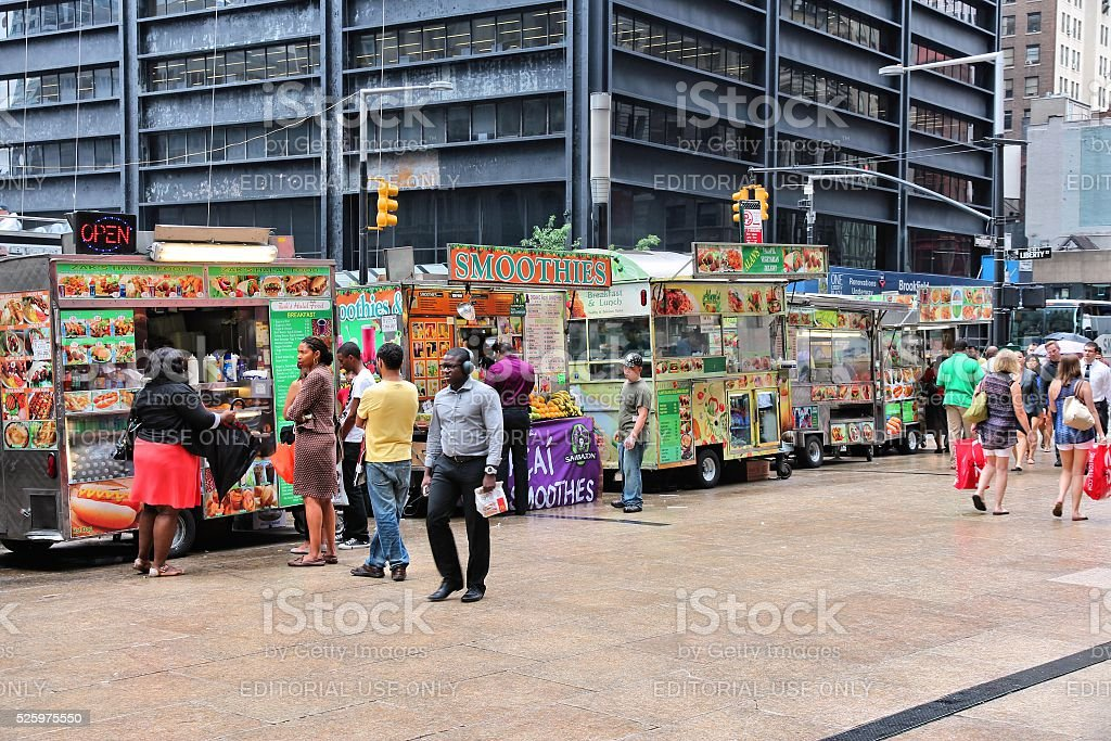 Food trucks, New York stock photo