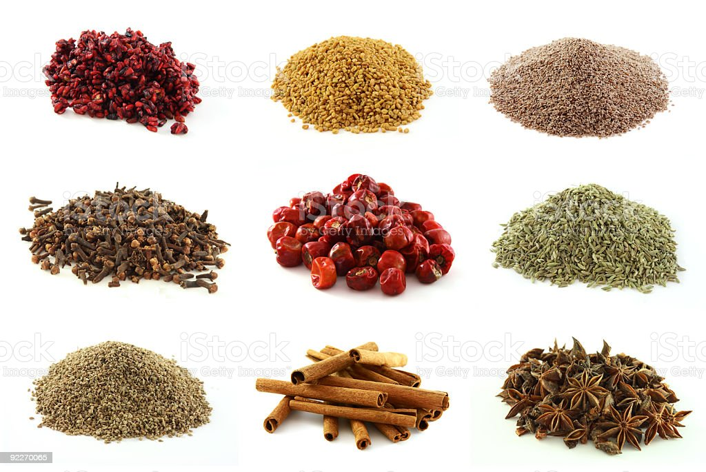 food Various kinds of nine exotic spices stock photo
