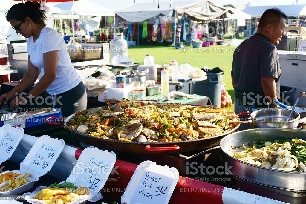 Food vendor at a community festival stock photo
