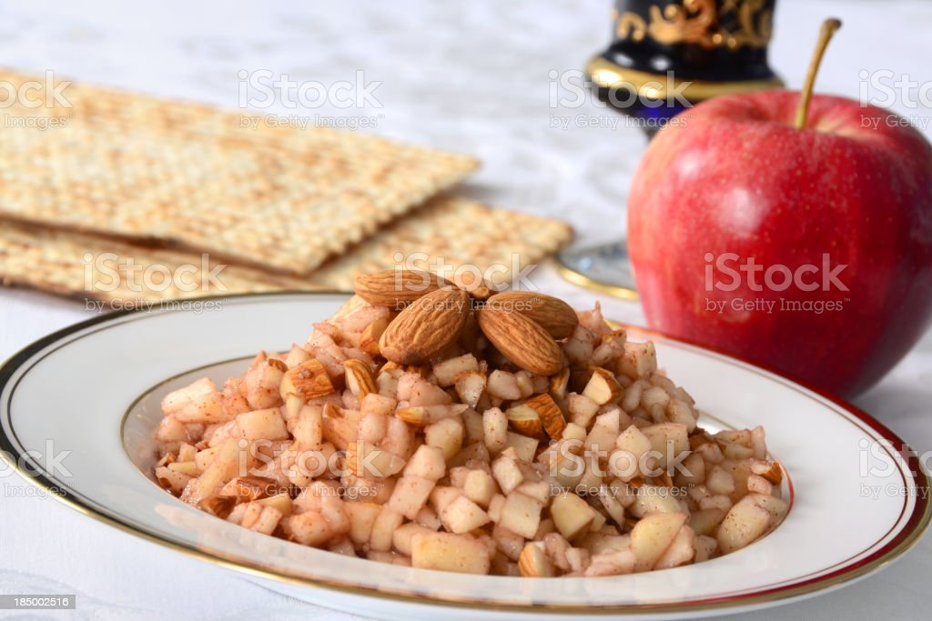 Food with almonds and an apple stock photo