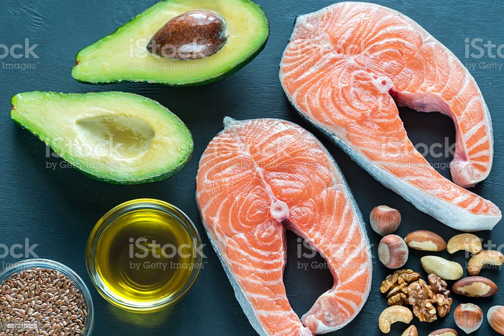 Food with Omega-3 fats stock photo