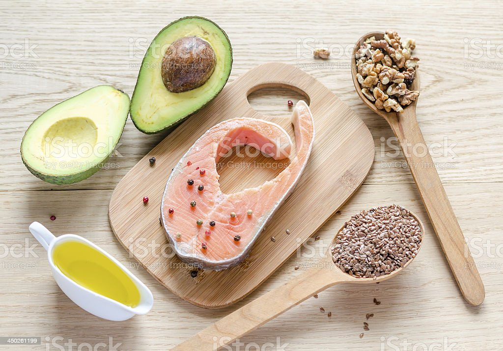 Food with unsaturated fats stock photo