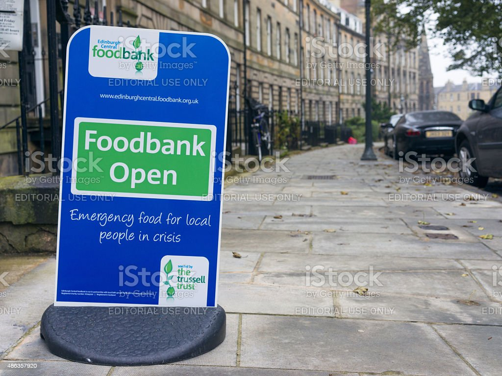 Foodbank sign in central Edinburgh stock photo