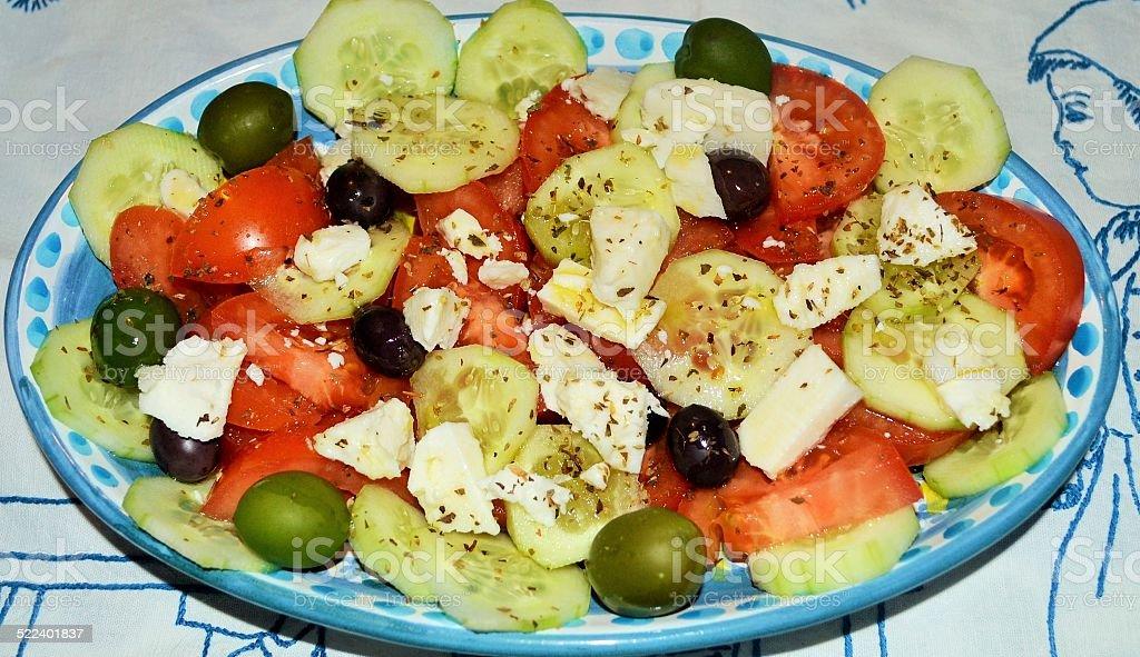 Food.Cucina mediterranea. Greek salad stock photo