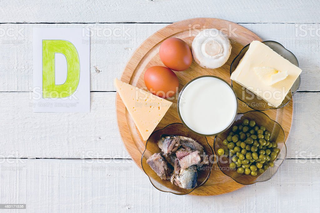 Foods containing vitamin D stock photo
