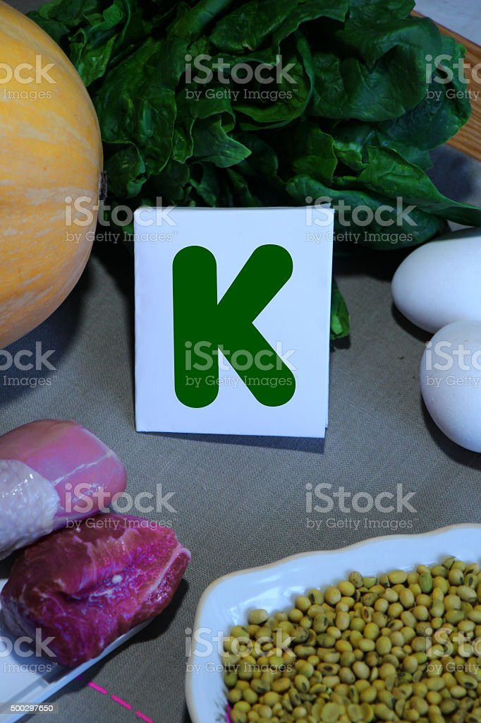 Foods containing vitamin K stock photo