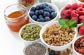 foods for healthy nutrition and breakfast on white table