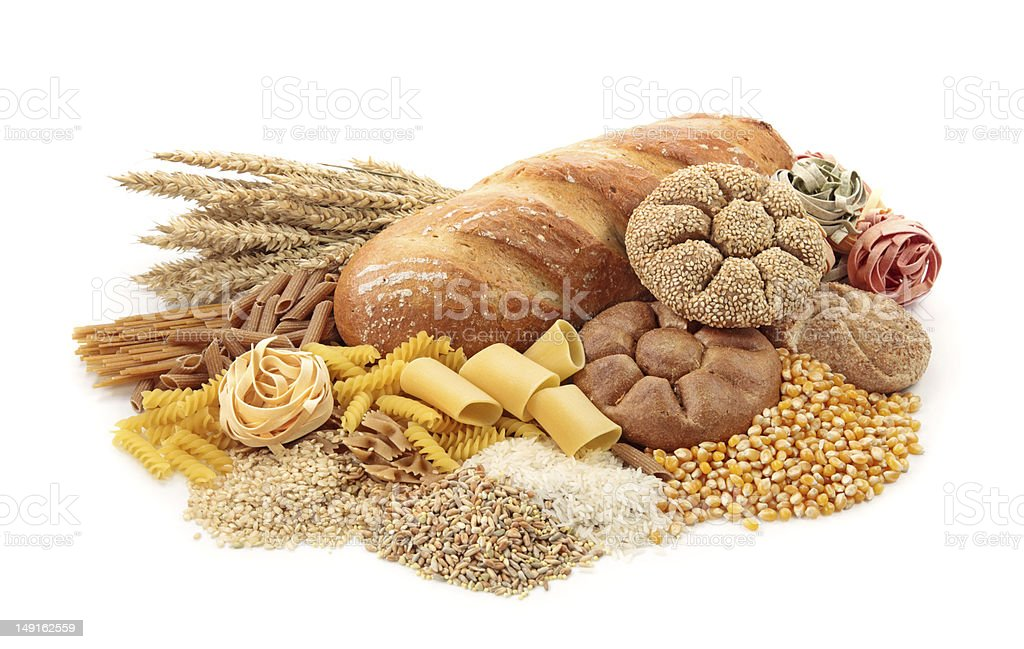 Foods high in carbohydrate stock photo