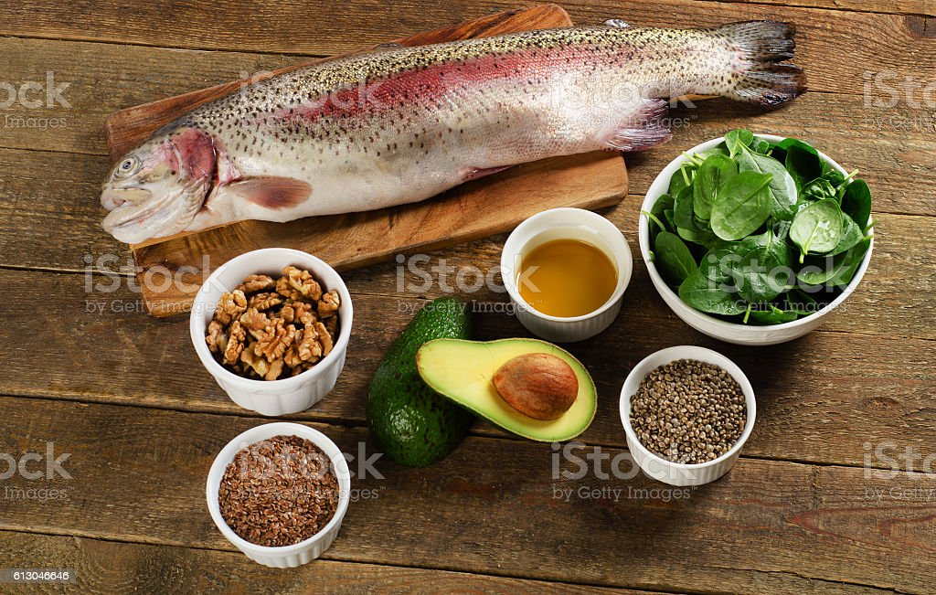 Foods highest in Omega-3 fatty acids. stock photo