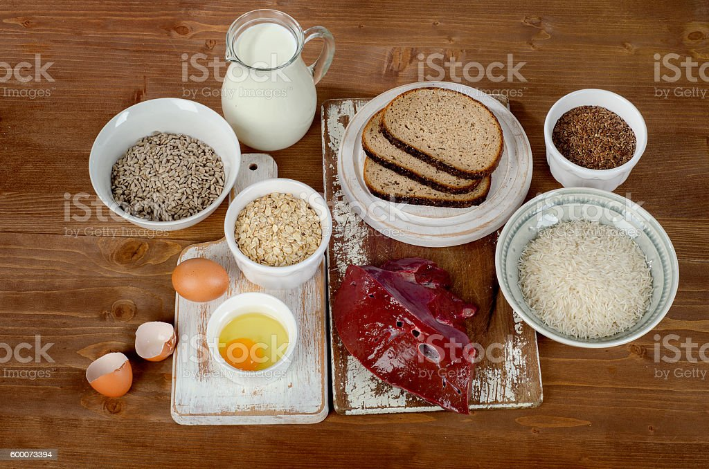 Foods Highest in Thiamin (Vitamin B1) on wooden background. stock photo
