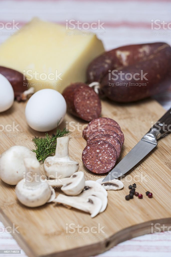 Foods on cutting board royalty-free stock photo