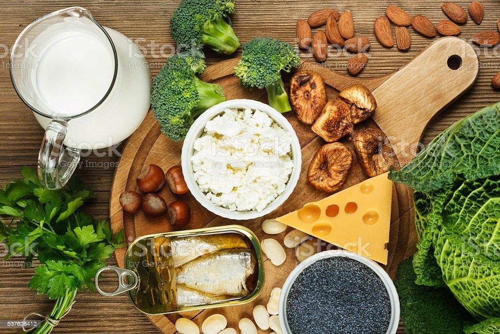 Foods rich in calcium stock photo