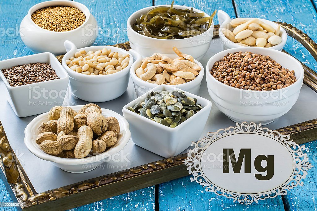 Foods rich in magnesium (Mg) stock photo