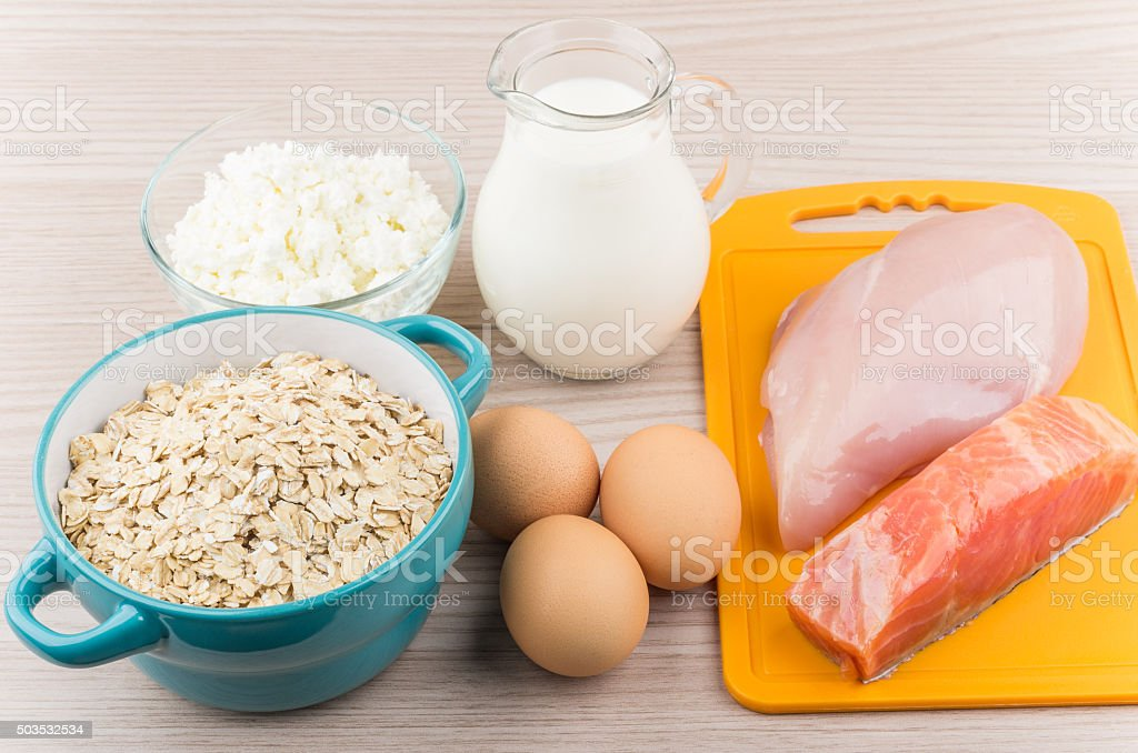 Foods rich in protein and carbohydrates on table stock photo