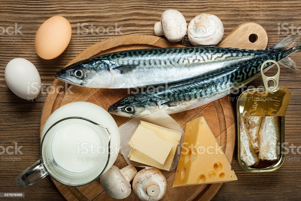 Foods rich in vitamin D stock photo
