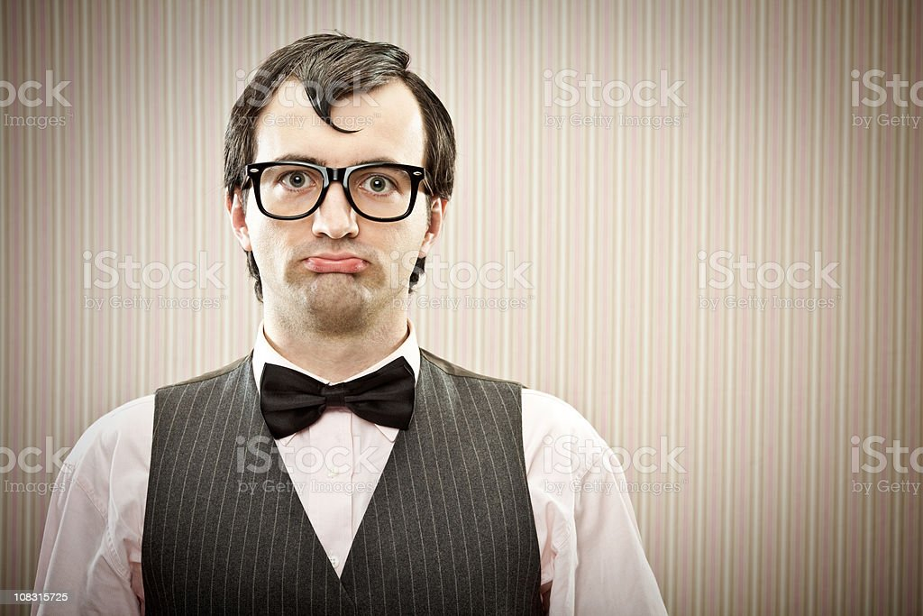Fool boy is waiting his girlfriend royalty-free stock photo