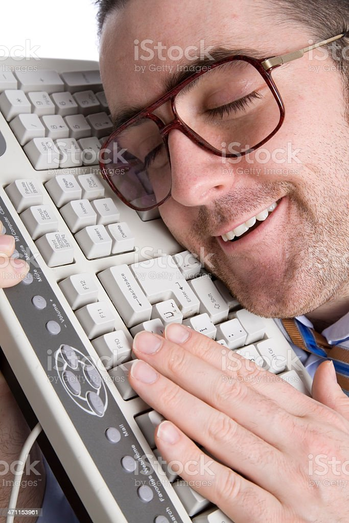 Fool businessman in love with keyboard royalty-free stock photo