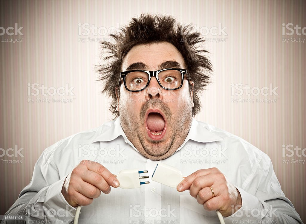 fool gets an electric shock stock photo