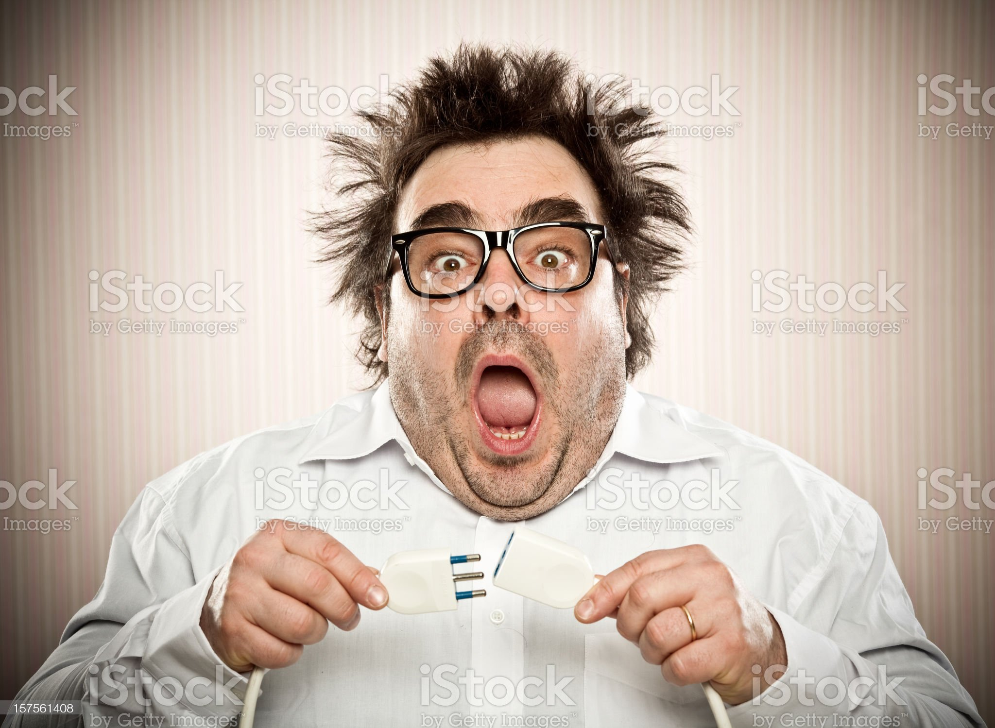 fool gets an electric shock royalty-free stock photo