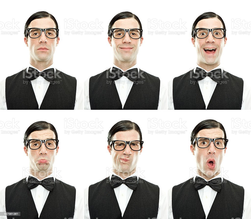 fool with glasses expression collection isolated on white royalty-free stock photo