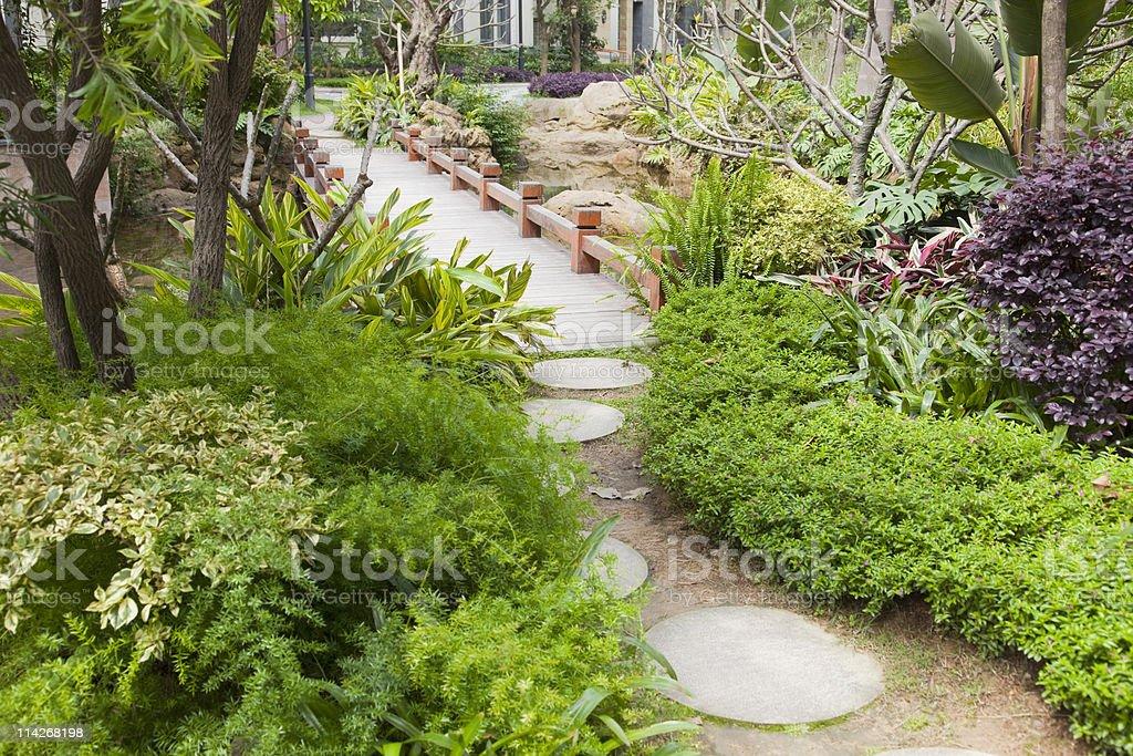 foootbridge in garden royalty-free stock photo