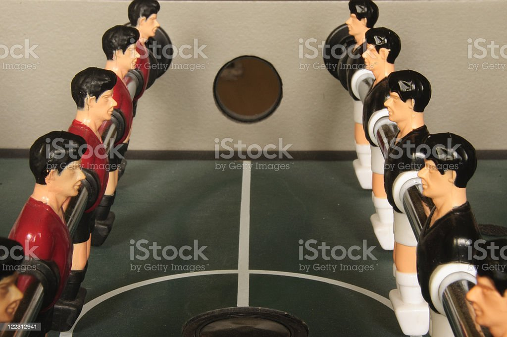Foosball lineup royalty-free stock photo