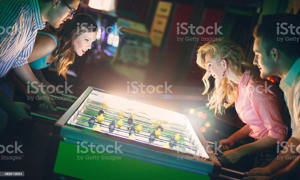 Foosball night. stock photo