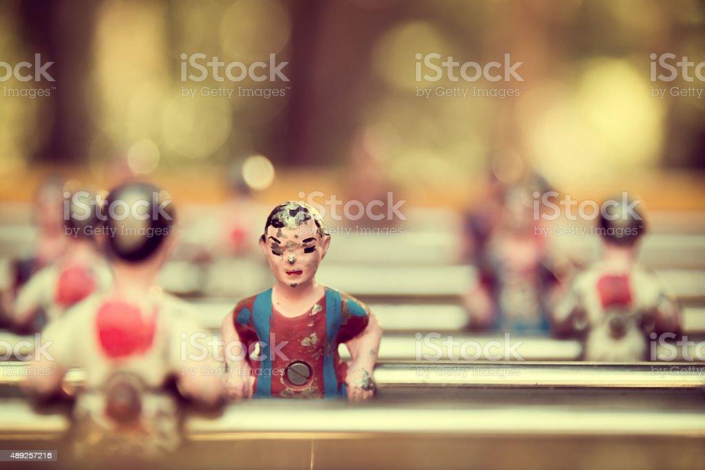 Foosball, old used table football, vintage style stock photo
