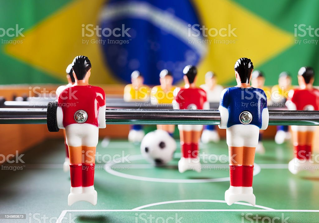 Foosball with Brazilian national flag ready for world championship! royalty-free stock photo