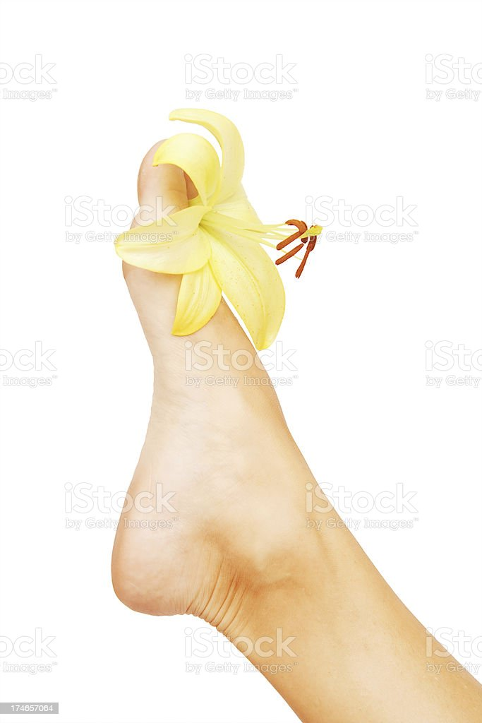 Foot and Flower royalty-free stock photo