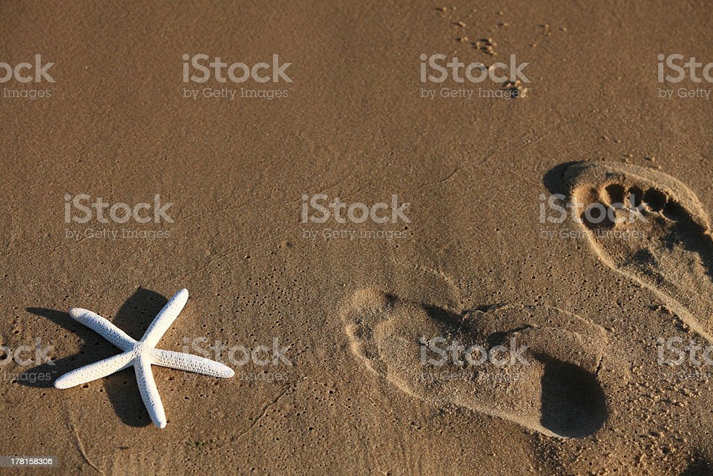 Foot and starfish prints on a sandy beach royalty-free stock photo