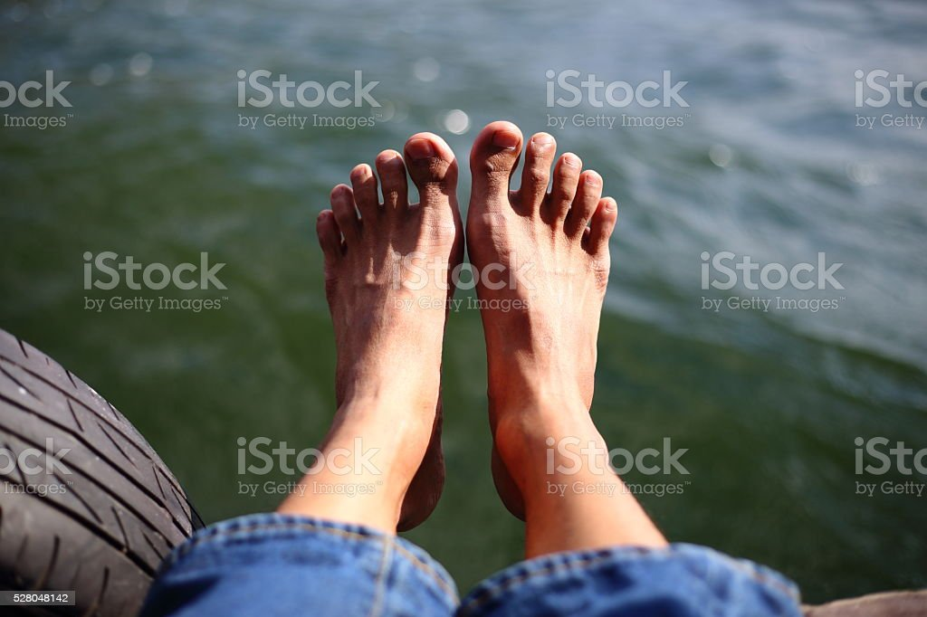 Foot and water stock photo