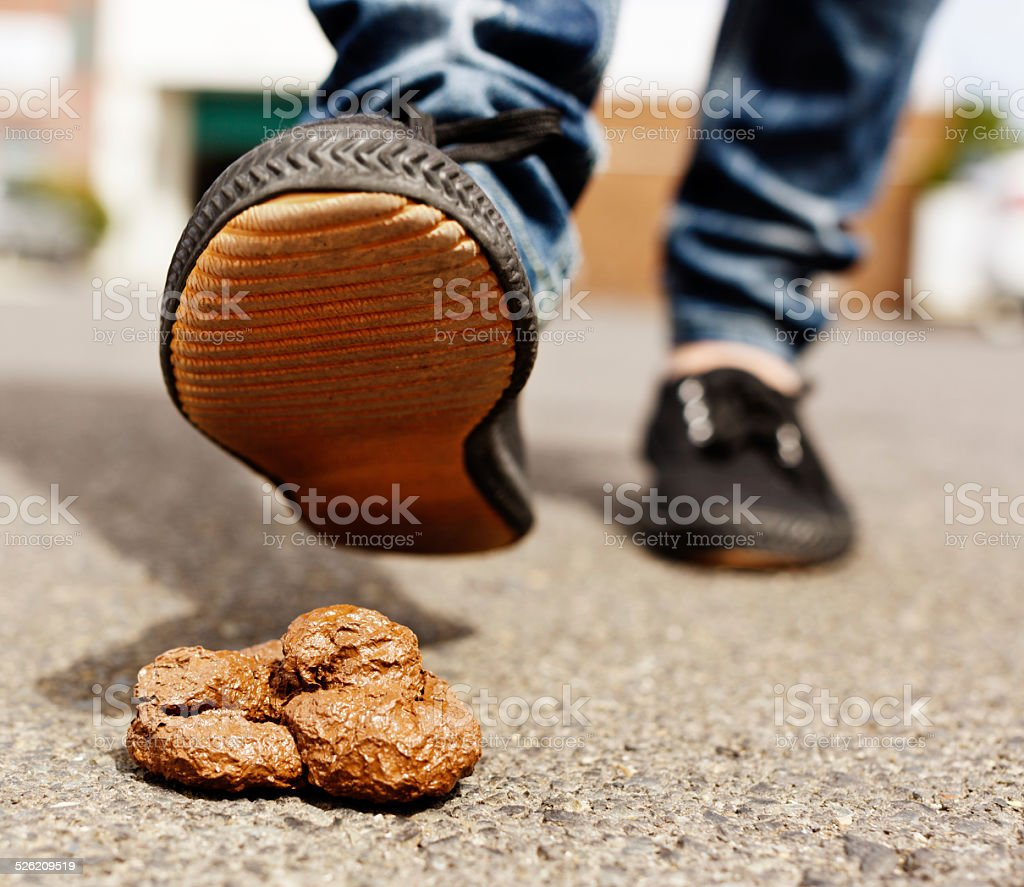 Foot approaches dog poo; nasty smelly accident coming up stock photo