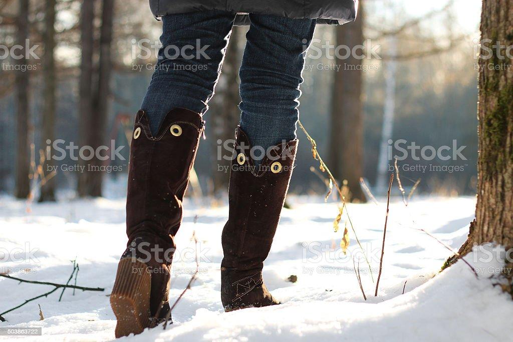 foot boot woman walk winter park stock photo