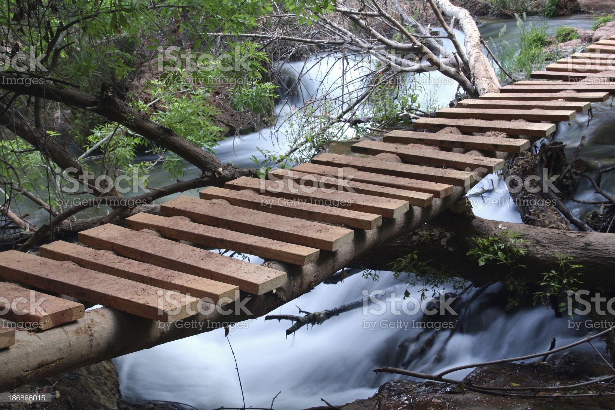 Foot Bridge Across Flowing Creek royalty-free stock photo