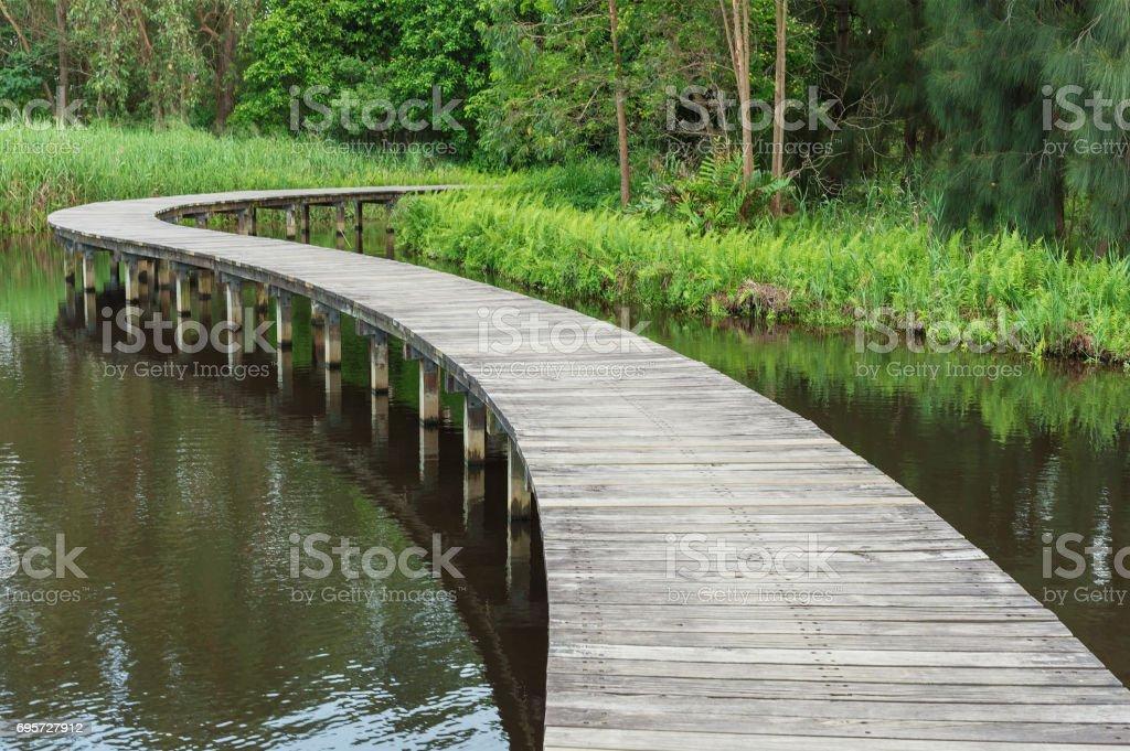 foot bridge and lake stock photo