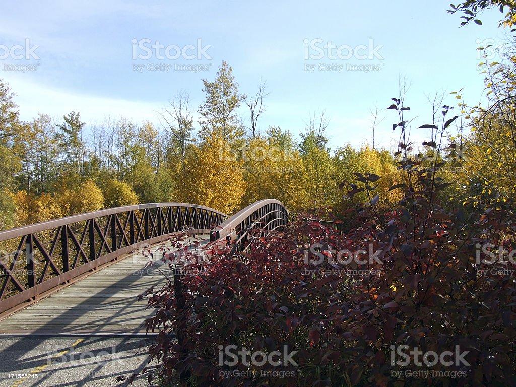 Foot bridge crossing Bear Creek in Autumn stock photo