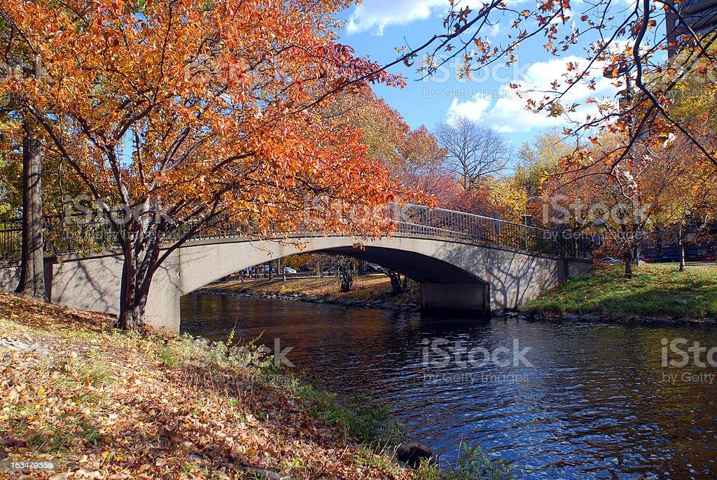Foot Bridge in Autumn stock photo