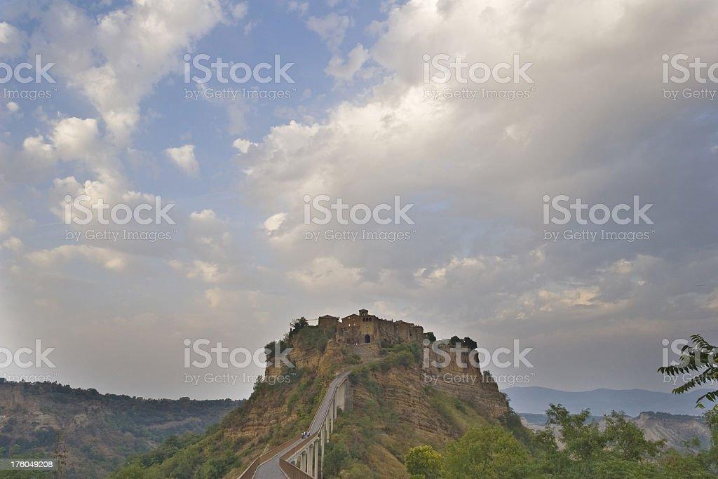 Foot bridge to the famous Civita de Bagnoregio stock photo