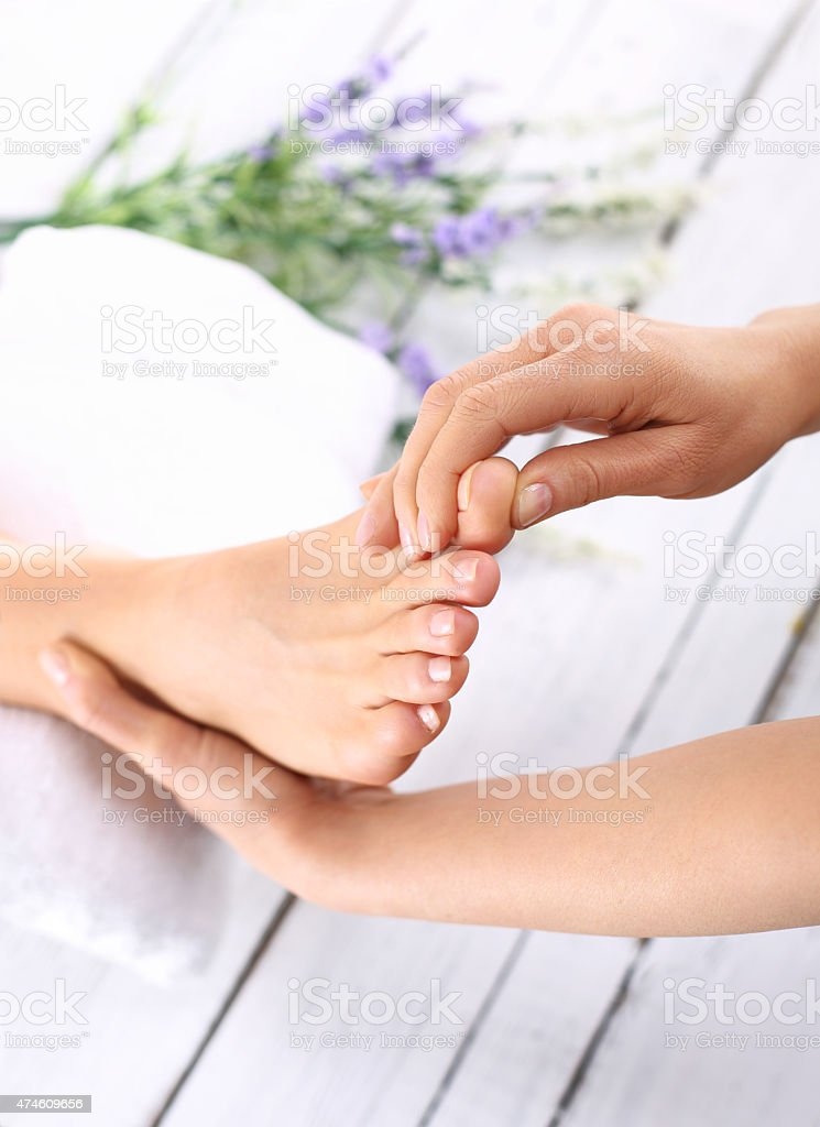 Foot care treatments stock photo