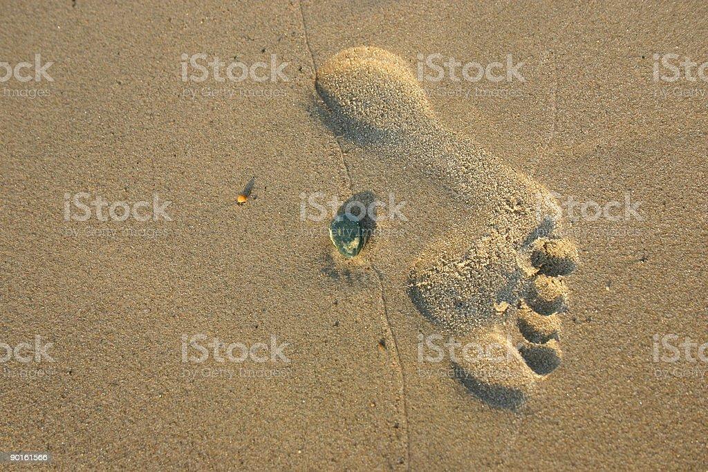 foot imprint stock photo