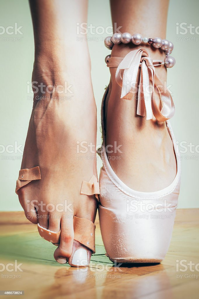 foot injured ballerina stock photo