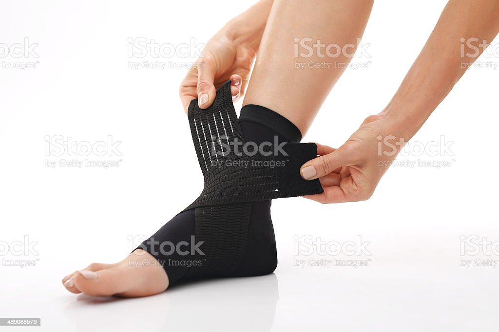 Foot injury, stabilizer ankle stock photo