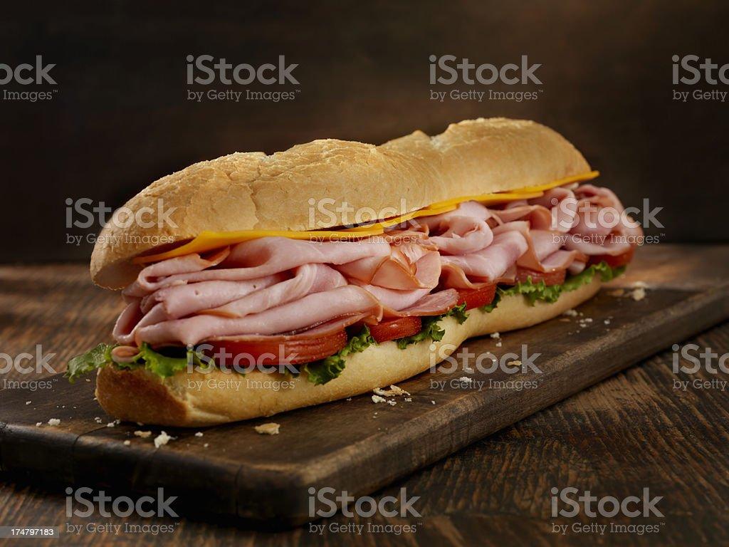Foot Long Ham and Cheese Sub stock photo