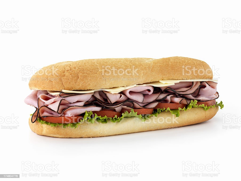 Foot Long Ham and Swiss Cheese Sub stock photo