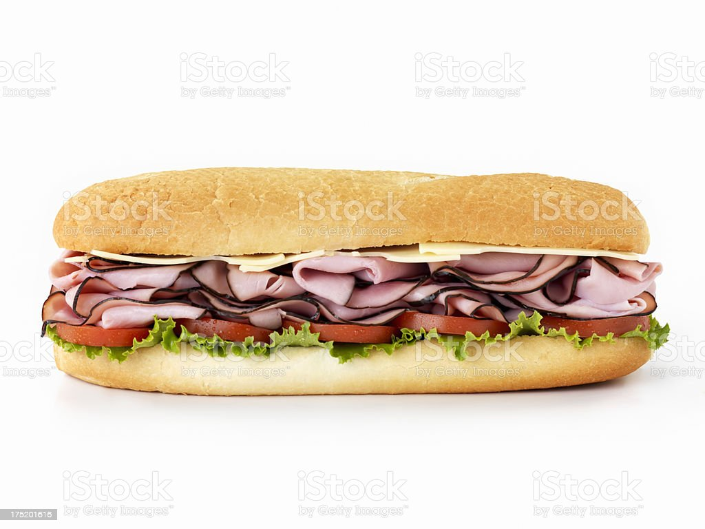 Foot Long Ham and Swiss Cheese Sub royalty-free stock photo