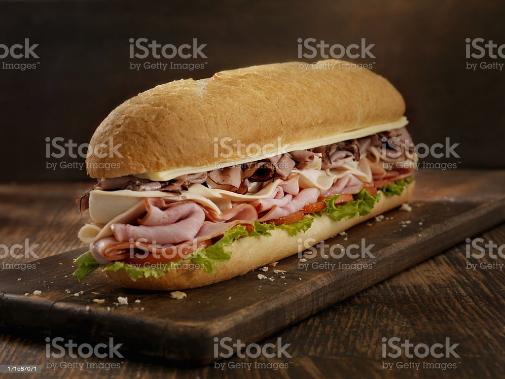 Foot Long Roast Beef and Cheese Sub stock photo